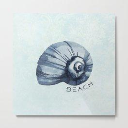 Beachy Blue Shell Metal Print