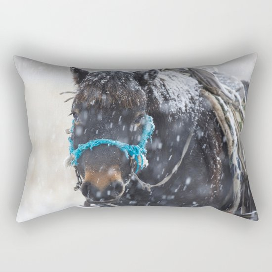 Winter Horse I Rectangular Pillow