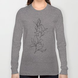 Botanical illustration line drawing - Magnolia Long Sleeve T-shirt