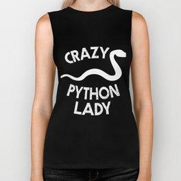 Crazy Python Lady | Cute Snake Reptile Woman Biker Tank