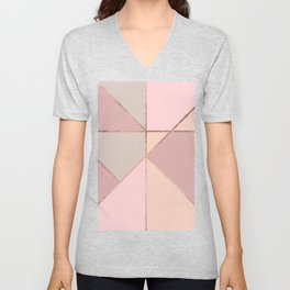 Modern rose gold peach blush pink color block Unisex V-Neck