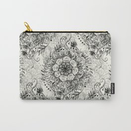 Messy Boho Floral in Charcoal and Cream  Carry-All Pouch