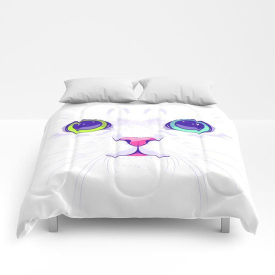 White cute cat Comforters