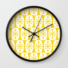 Mid Century Modern Atomic Fusion Pattern Yellow Wall Clock