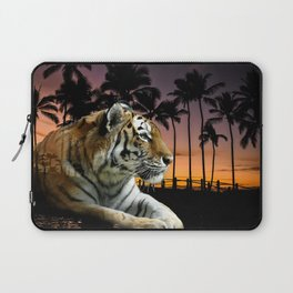 Tropical Tiger in Golden Sunset Laptop Sleeve
