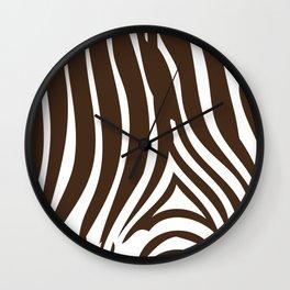 Zebra Stripes | Animal Print | Chocolate Brown and White | Wall Clock