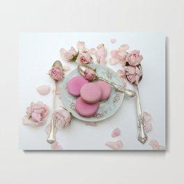 Pink Roses Macarons Cottage Vintage Spoons  Metal Print