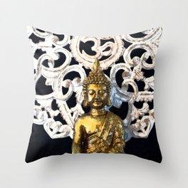 Gold Buddha Om Throw Pillow