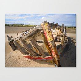 BOAT WRECK AT CROW POINT BEACH NORTH DEVON Canvas Print