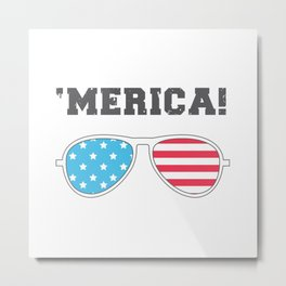 'MERICA! - American Flag Aviator Glasses Metal Print