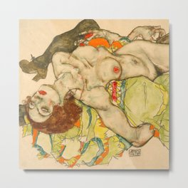 "Egon Schiele ""Female Lovers"" Metal Print"