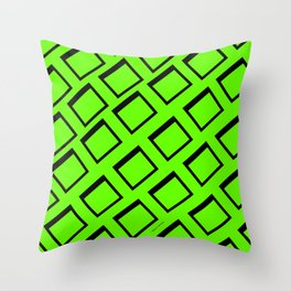 BRIGHT HOT GREEN SQUARES Throw Pillow
