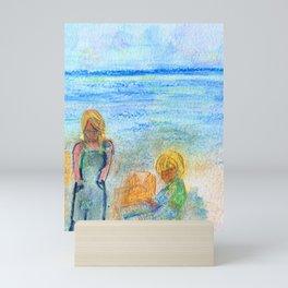 Mommy and Baby Beach Day Mini Art Print