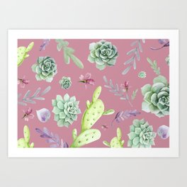 Cactus Watercolor Pattern 7 Art Print