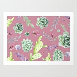 Cactus Watercolor Pattern 7 Art Print