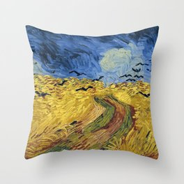 Wheatfield with Crows by Vincent van Gogh Throw Pillow
