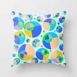 Bubble blue & orange Throw Pillow