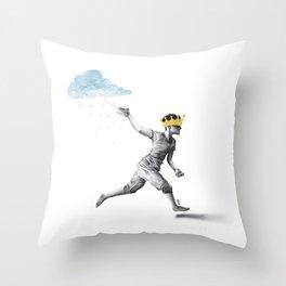 Rain Boy (b/w) Throw Pillow