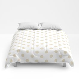 Small Polka Dots - Pearl Brown on White Comforters