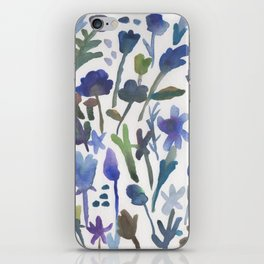 Blue Flower Pattern iPhone Skin