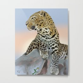 A New Day (Leopard at Sunrise) Metal Print