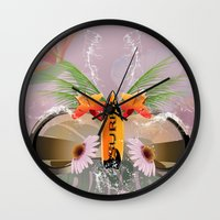surfboard Wall Clocks featuring Surfing, sunglasses with surfboard  by nicky2342