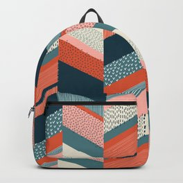 Chevron with Textures / Orange and Persian Green Backpack