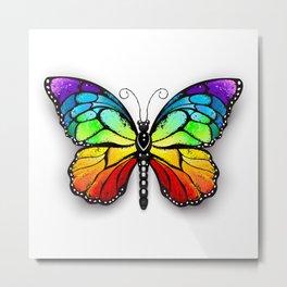 Rainbow Monarch Butterfly Metal Print