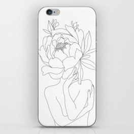 Minimal Line Art Woman Flower Head iPhone Skin