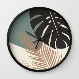 Minimal Monstera Palm Finesse #1 #tropical #decor #art #society6 Wall Clock