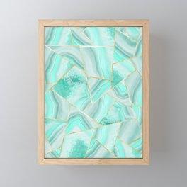 Soft Turquoise Agate Gold Geometric Summer Glam #1 #geo #decor #art #society6 Framed Mini Art Print
