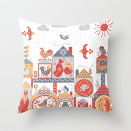 Small fairy-tale houses with cute animals and birds. Throw Pillow
