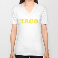 taco V-neck T-shirts featuring Taco by Book Ink Boutique