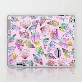 Summer Seashells in Girly Painted Watercolor Paint Laptop & iPad Skin