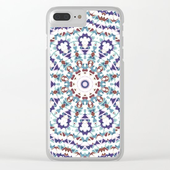 White, brown , blue kaleidoscope . Clear iPhone Case