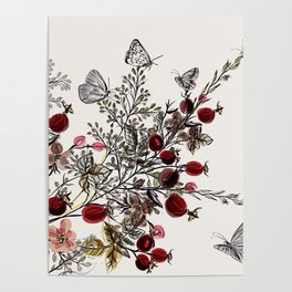 Watercolor floral background Poster