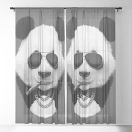 Panda in Black Sheer Curtain