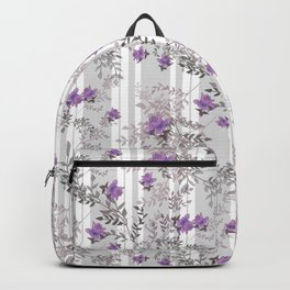 Lilac roses on a gray striped background. Backpack