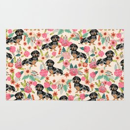 Dachshund dapple coat dog breed floral pattern must have doxie gifts dachsies Rug