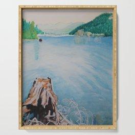Oakridge Reservoir #4 watercolor painting Serving Tray