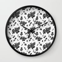 vintage floral Wall Clocks featuring VINTAGE FLORAL by Kiley Victoria