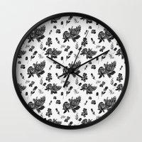 vintage floral Wall Clocks featuring VINTAGE FLORAL by Kiley Victoria