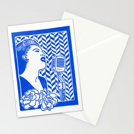 Lady Day (Billie Holiday block print) Stationery Cards