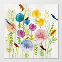 Birds in the Globe Flower Garden Canvas Print