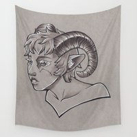 aries Wall Tapestries featuring Aries by Rachel Laughman