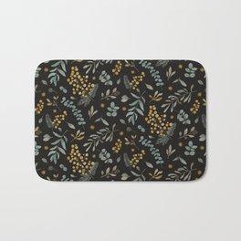 Australian native wattle eucalyptus watercolor floral black Bath Mat