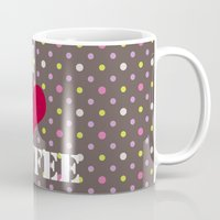 coffe Mugs featuring I Love Coffe by Brad Josh