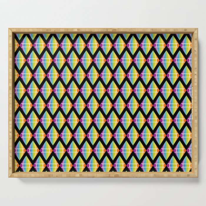 Abstract [RAINBOW] Emeralds pattern Serving Tray