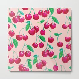 Watercolour Cherries   Peach Background Metal Print