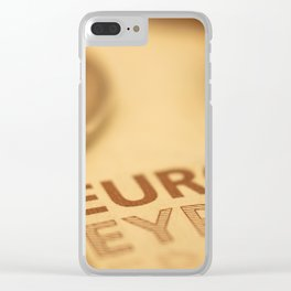 Approach of European currency. Euros and coins. Clear iPhone Case